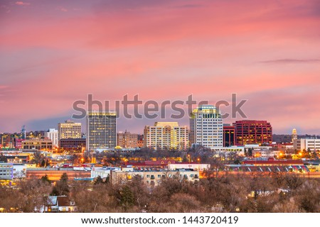Colorado Springs, Colorado, USA downtown city skyline at dusk. #1443720419