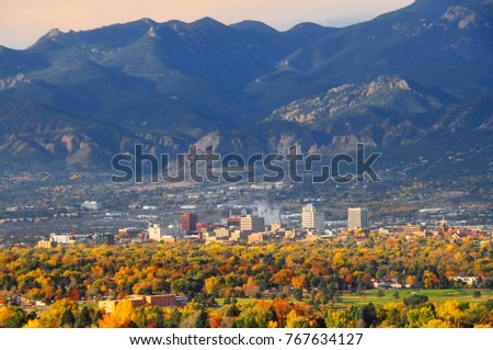 Colorado Springs Downtown as seen from Palmer Park #767634127