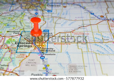 Free photos Closeup on Colorado Springs, Colorado on a map of the ...