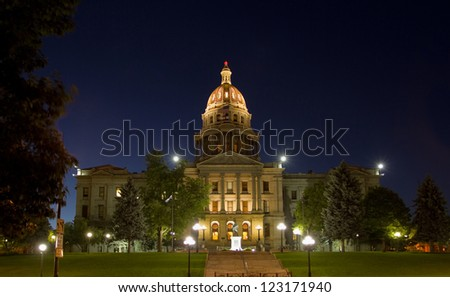 Colorado State Capitol Building in Denver, at night.