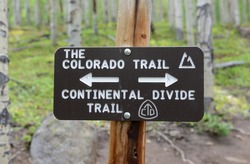 Colorado Trail hiking sign in forest