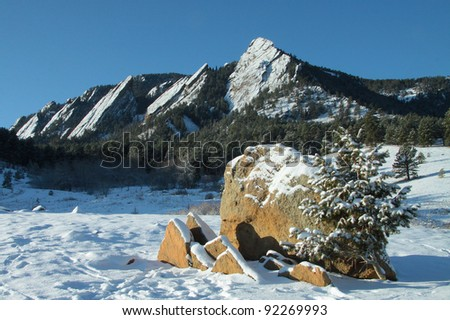 Colorado Winter Scenic - sandstone formations of The Flatirons in Chautauqua Park west of Boulder