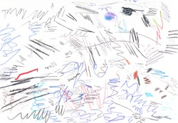 Colored abstract Scribble by Pen, lines by Ink, random Sketches as Background or Texture on white Paper