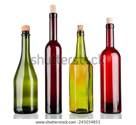 Colored alcohol bottles on a reflective surface with white background #243254851