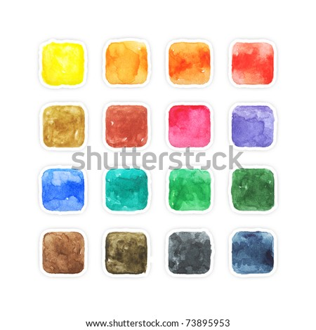 Colored aquarelle blank web buttons with gray drop shadow on white background