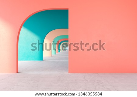 Colored architectural corridor with empty wall, concrete floor, horizon line. 3d render illustration mock up