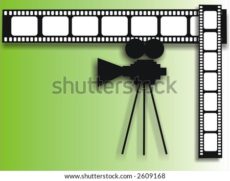 colored background with film stripe and movie camera