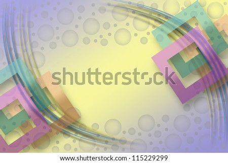Colored background with square frames and violet circles