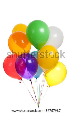 Colored balloons including green, yellow, blue, red, white, orange, purple and orange on a white background