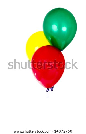 colored balloons isolated on white.