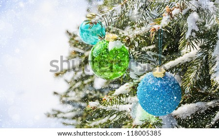 Colored balls on the Christmas tree