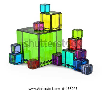 Colored big and small rendered cubes for background