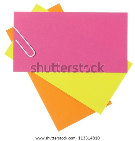 Colored blank papers connected with staple