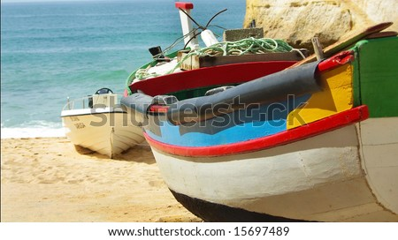 Colored boat of it fishes in Algarve, Portugal.