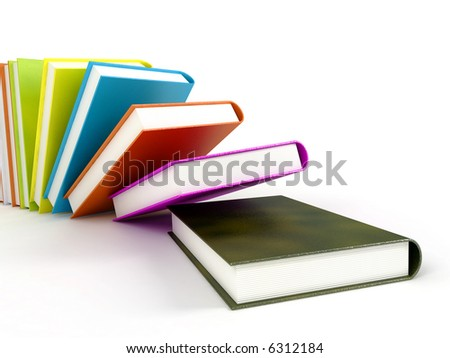 Colored books isolated on glossy white. Books stack. School, university, college, books, stack, white, many. Stock design 3d render