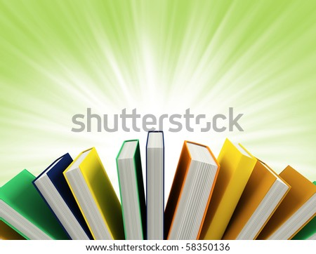 colored books isolated on green