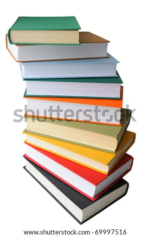 colored books on white background - stock photo