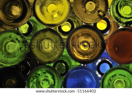 Colored bottles against the light