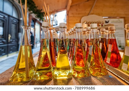 Colored bottles of fragrances with sticks for the fragrance of the house. #788999686