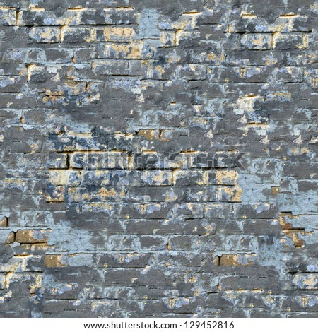 Colored Brick Wall with Cracks and Spots. Seamless Tileable Texture.
