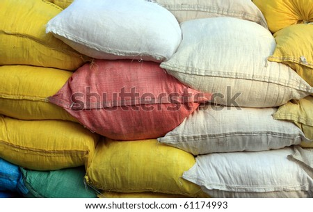 colored burlap sack, background