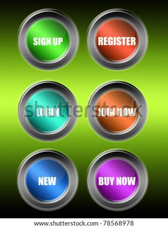 colored buttons web over green background