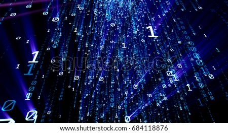 Colored bytes of binary code flying through a vortex, background code depth of field. 3D illustration/Binary code  background