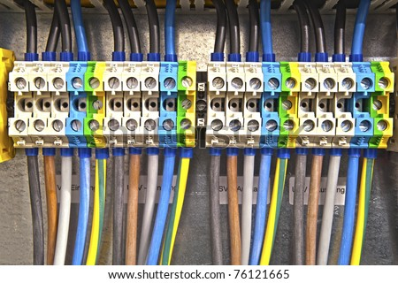 colored cable clamp - stock photo