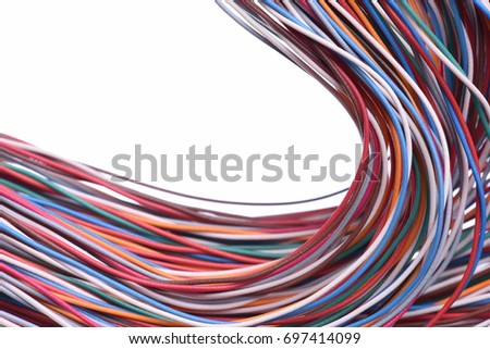 Colored cables on white background closeup #697414099