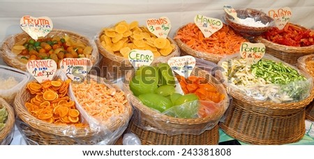 colored candied fruit in the market basket in Italy