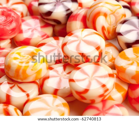 colored caramel candies close-up