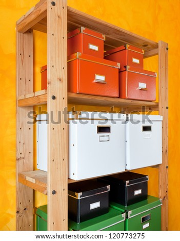 Colored cardboard boxes for organizing - stock photo