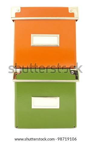 colored cardboard boxes isolated on white