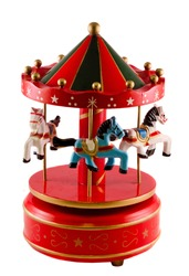 Colored carousel toy with horses, close up, isolated, white background
