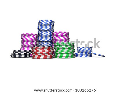 Colored casino chips isolated on white background. For magazines, banners, webpages, flyers, etc.