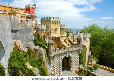 Colored castle outdoor . Portugal, Europe. - stock photo