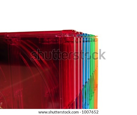 Colored CD boxes closeup, isolated