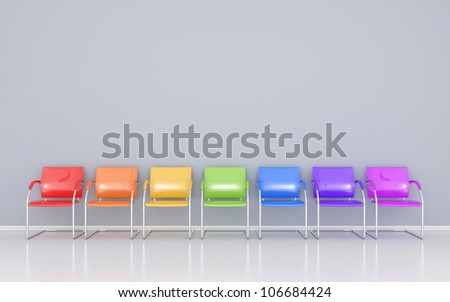 Colored chairs in the waiting room