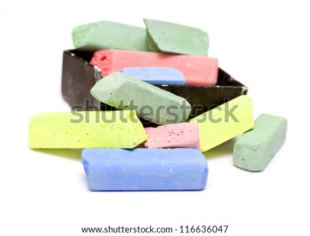 colored chalk on white background