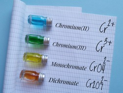 Colored chromium solutions in glass bottles. Chromium-based solutions with chemical formulas of different oxidation states of chromium. Yellow, orange, blue and green liquid in test tubes.
