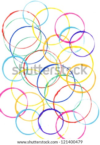 Colored circles made with paint on a white background