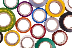 colored circles roll of adhesive tape set, top view, close up isolated on white background