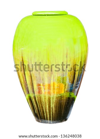 Colored Clay jars on white background - stock photo