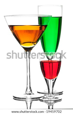 colored cocktail against white background