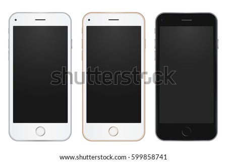Colored concept of modern phones with empty screens, realistic white, gold and black mobile templates on white background. High quality 4k illustration.