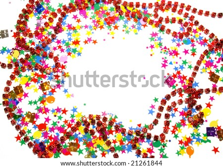 Colored confetti isolated on a white background