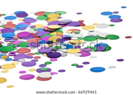 Colored confetti on the white background