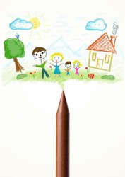 Colored crayon close-up with a paint drawing of a family