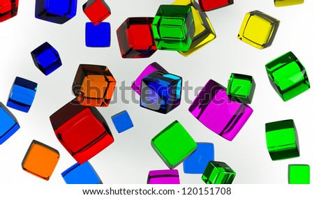 colored cube front view of a light background