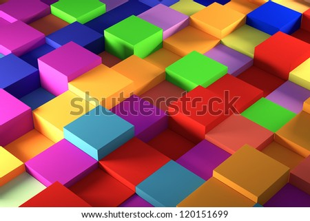 colored cube plastic view of a light background